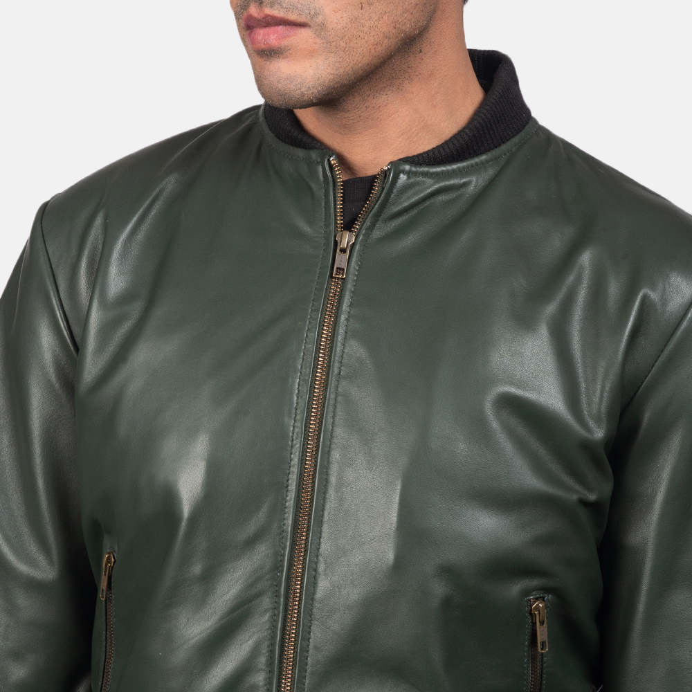 Mens Shane Green Leather Bomber Jacket 4