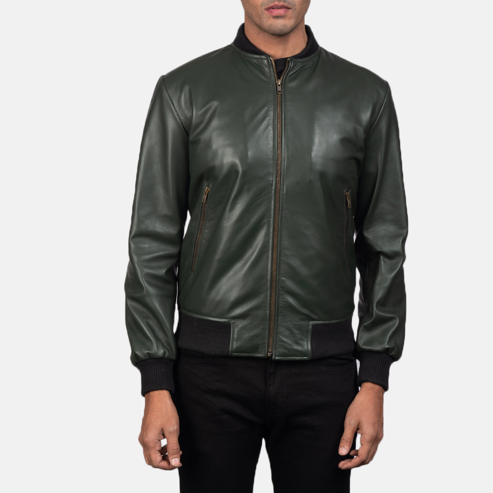 Mens Shane Green Leather Bomber Jacket 4