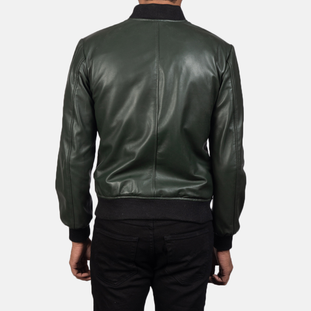Mens Shane Green Leather Bomber Jacket 5