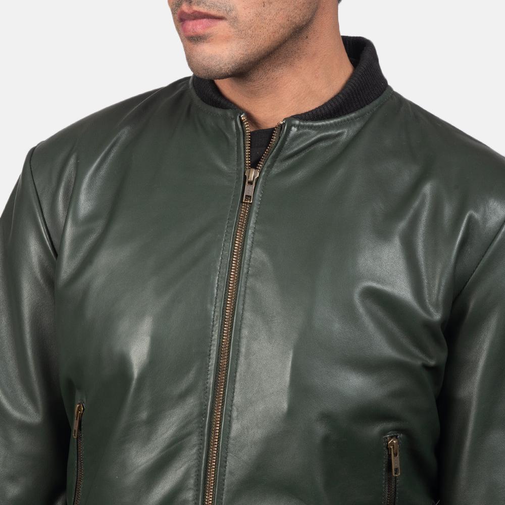 Mens Shane Green Leather Bomber Jacket 6