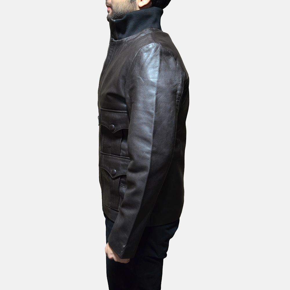 Mens Royale Brown Leather Jacket 4