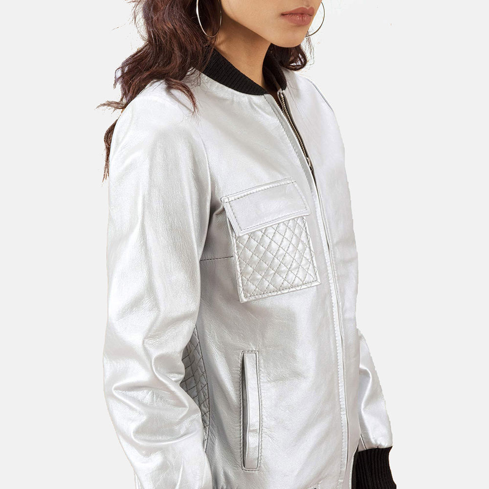 Womens Lana Silver Leather Bomber Jacket 5