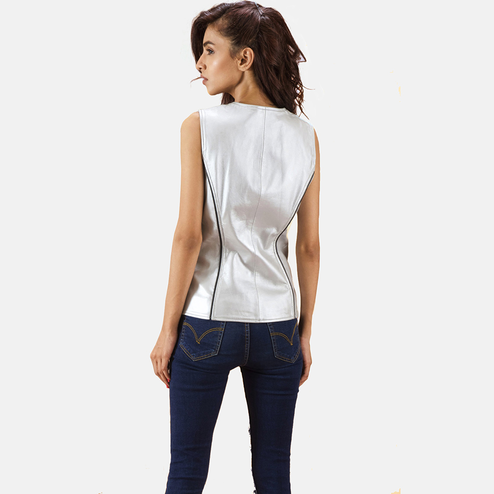 Womens Misfit  Metallic Silver Leather Vest 4