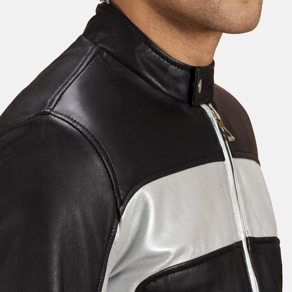 Mens Randolf Silver Black Leather Biker Jacket 3