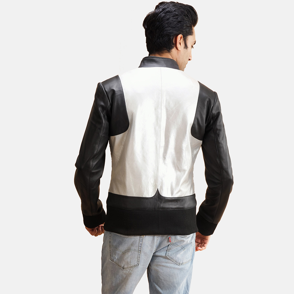 Mens Texan Silver Black Leather Bomber Jacket 4