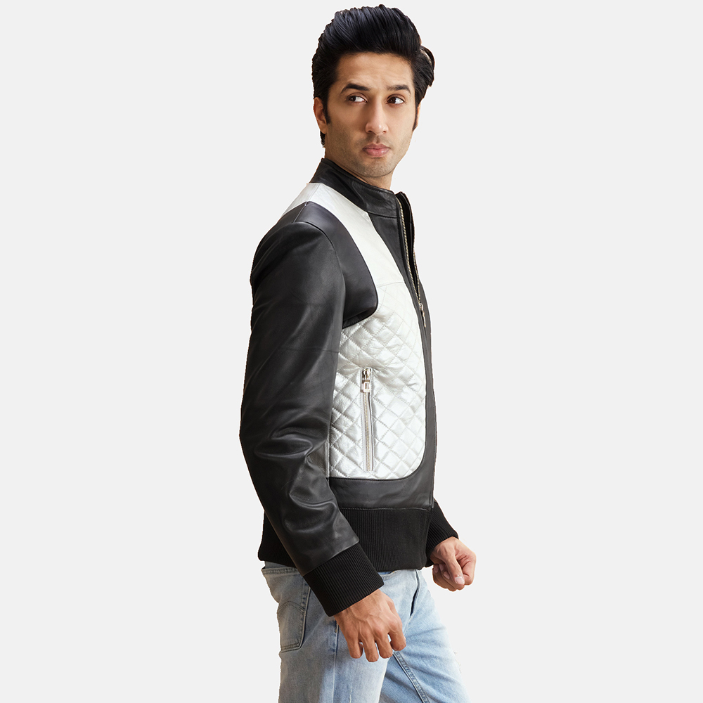 Mens Texan Silver Black Leather Bomber Jacket 5