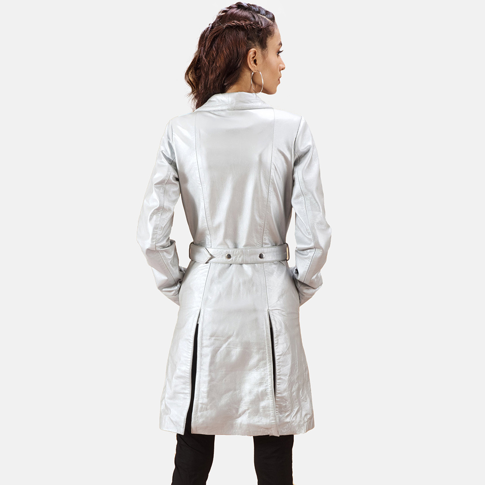 Womens Moonlight Silver Leather Trench Coat 6