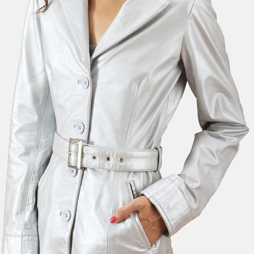 Womens Moonlight Silver Leather Trench Coat 3