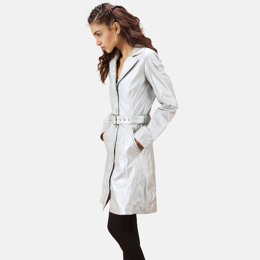 Womens Moonlight Silver Leather Trench Coat 4