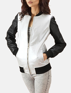 Silver and black bomber jacket zoom 2 a 1491411688681