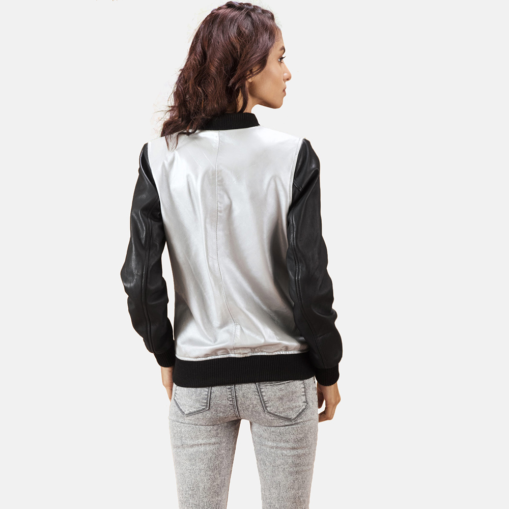 Womens Cole  Silver Leather Bomber Jacket 3