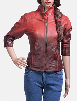Womens Stacy Spice Red Leather Biker Jacket