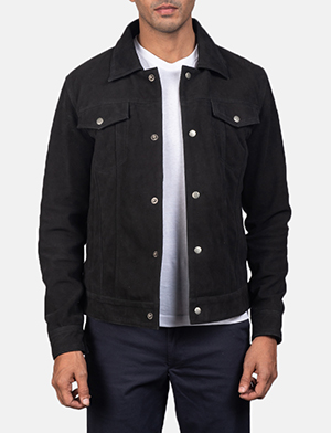 Men's Stallon Black Suede Jacket