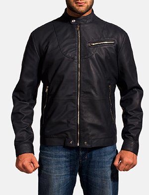 Mens Moonblue Leather Biker Jacket