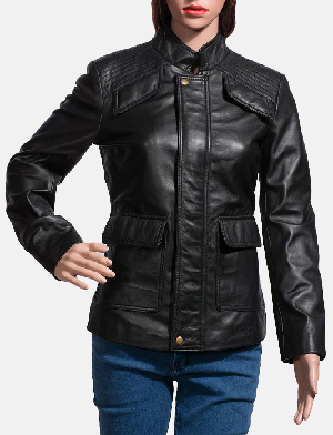 Womens Strada Black Leather Jacket