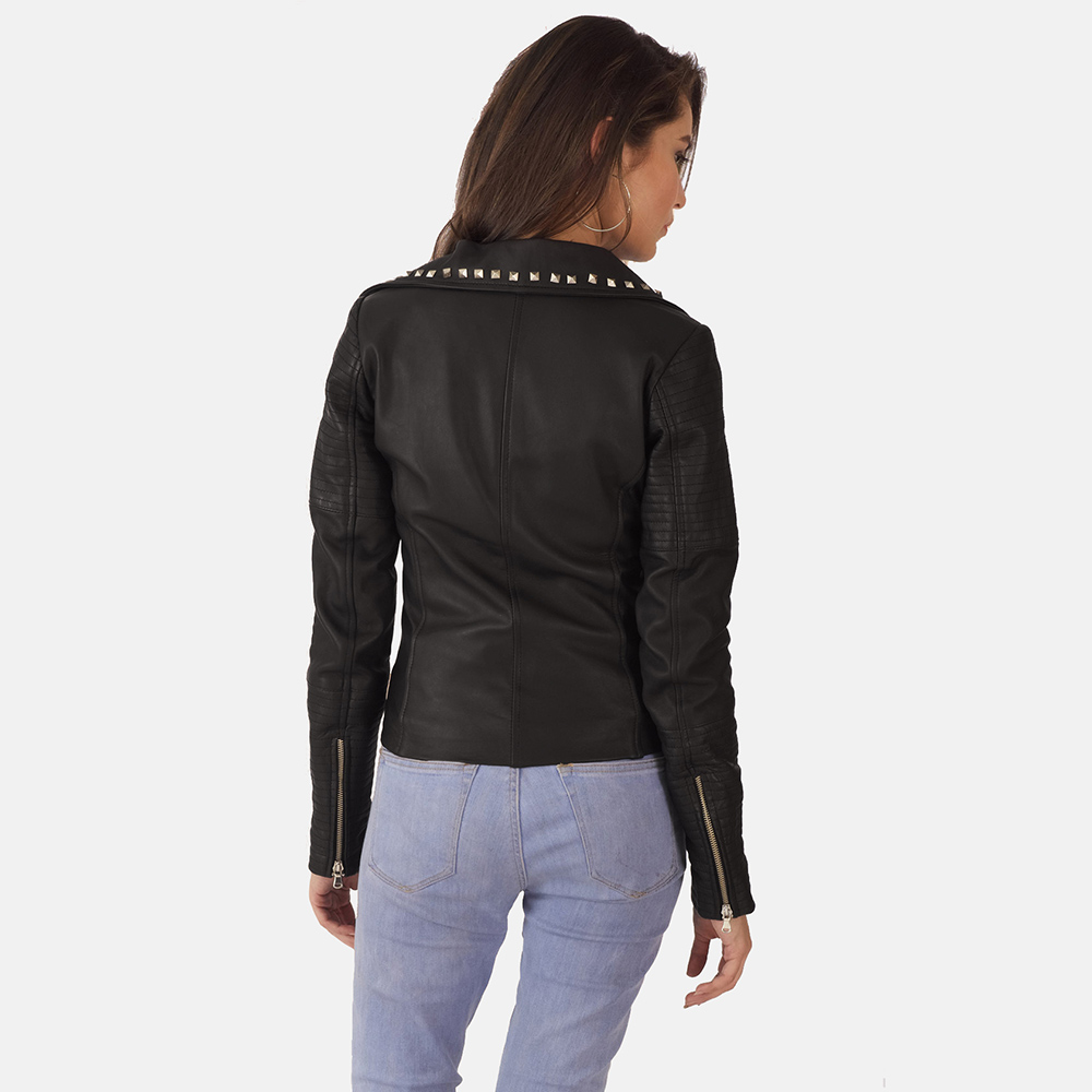 Womens Sally Mae Studded Black Leather Biker Jacket 4