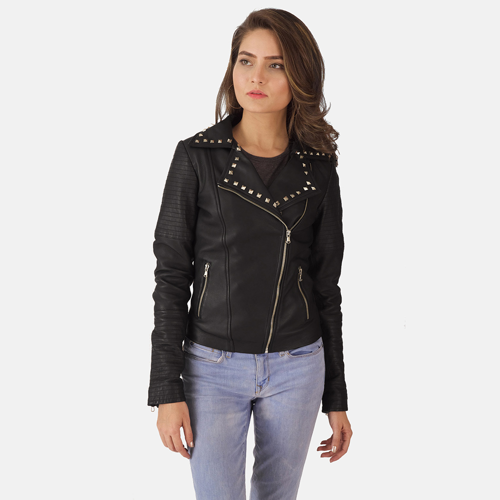 Womens Sally Mae Studded Black Leather Biker Jacket 2