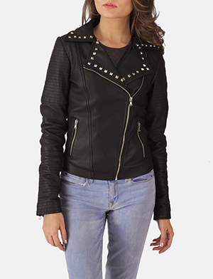 Womens Sally Mae Studded Black Leather Biker Jacket