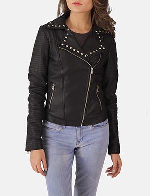 Womens Sally Mae Studded Black Leather Biker Jacket