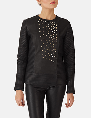 Celeste Studded Black Leather Jacket