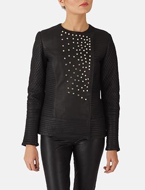 Womens Celeste Studded Black Leather Jacket