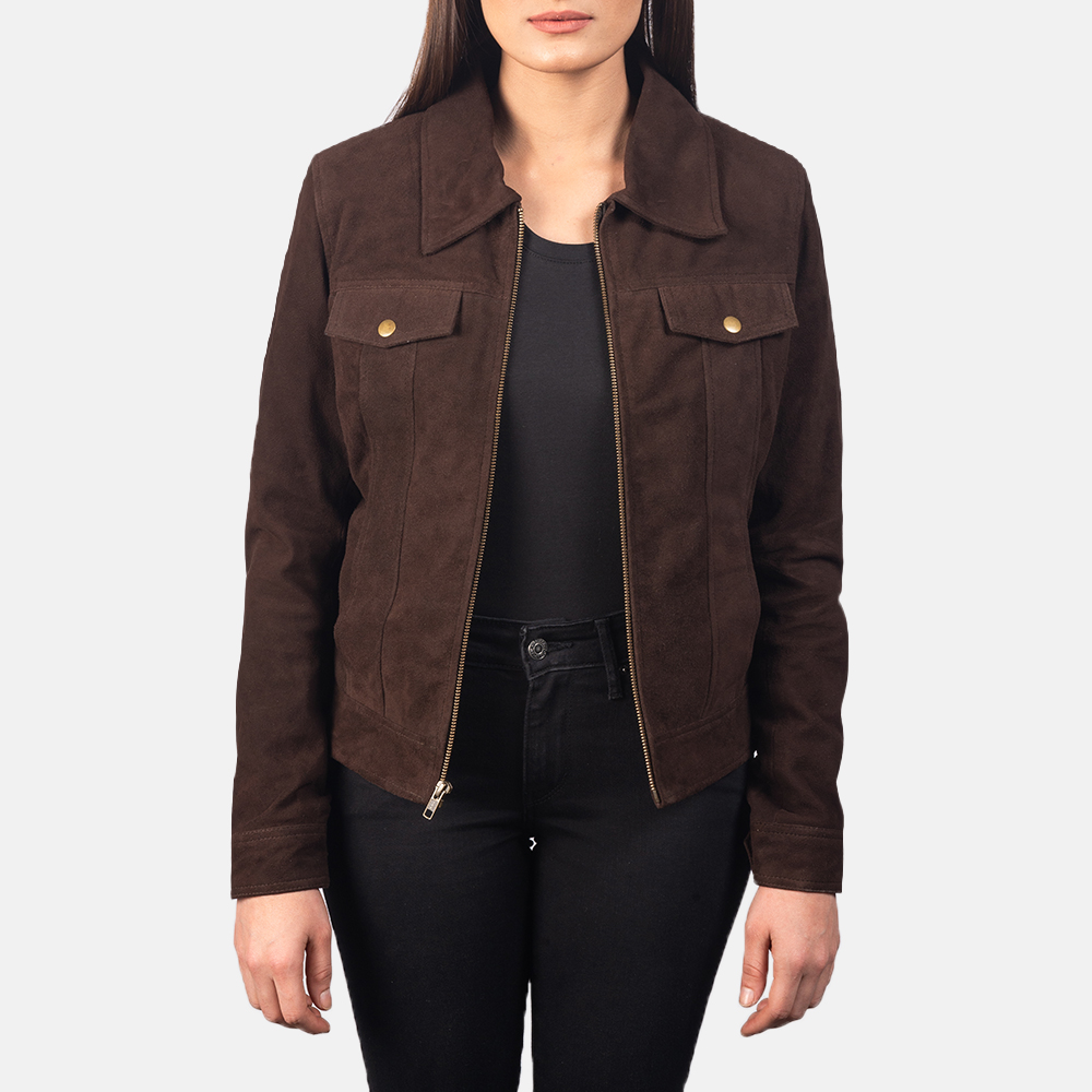 Women's Suzy Mocha Brown Suede Jacket 3