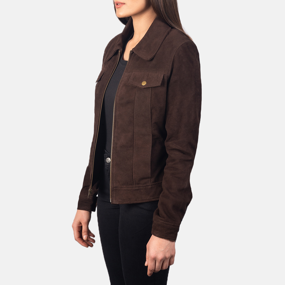 Women's Suzy Mocha Brown Suede Jacket 2
