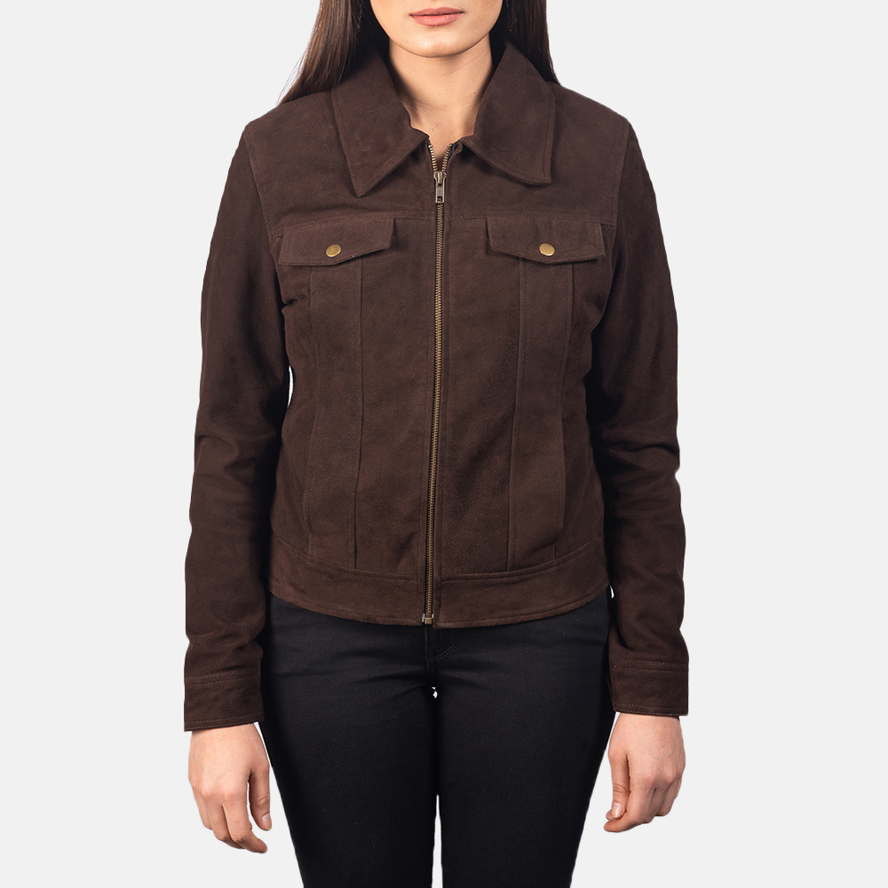 Women's Suzy Mocha Brown Suede Jacket 4