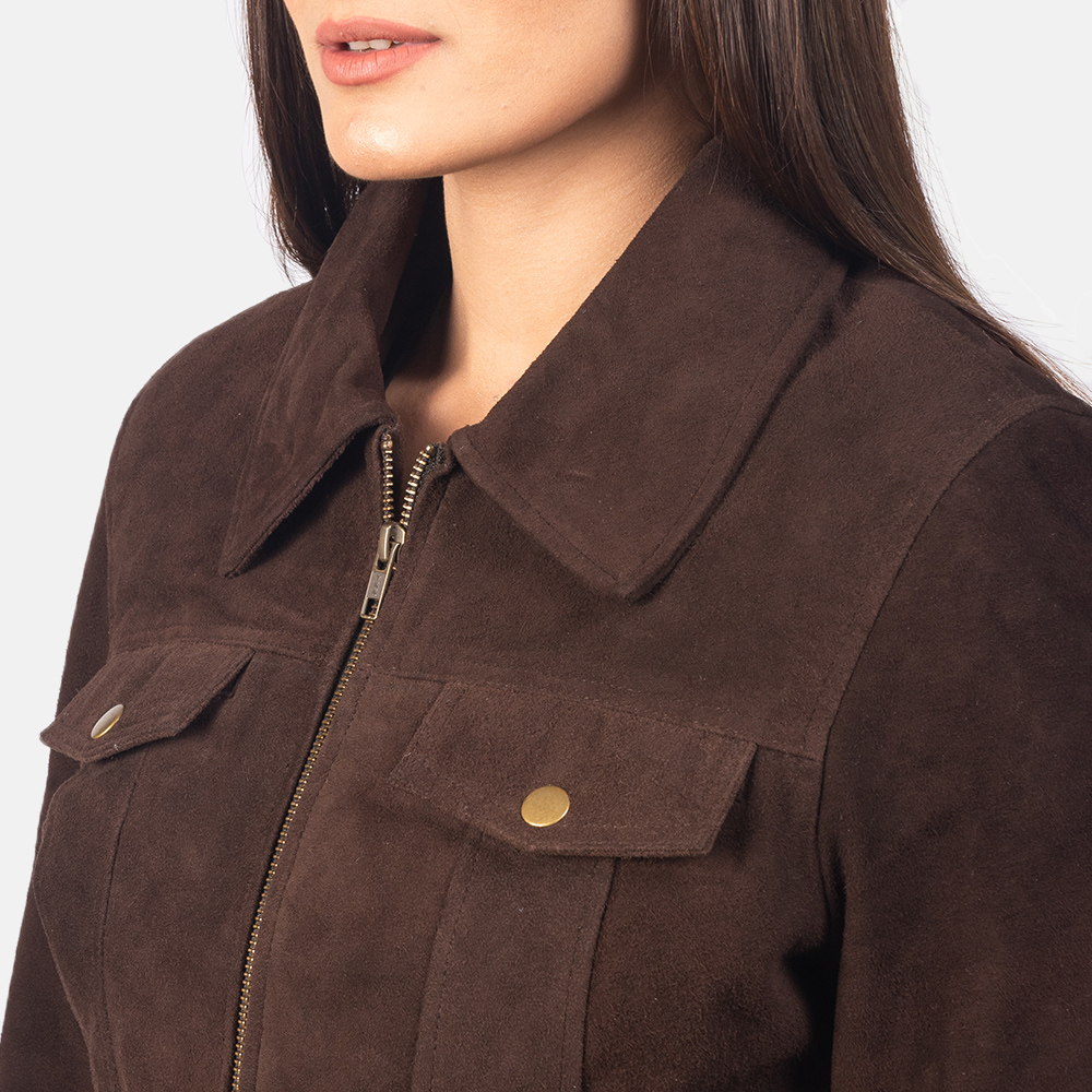 Women's Suzy Mocha Brown Suede Jacket 6