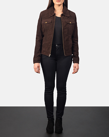 Women's Suzy Mocha Brown Suede Jacket 1