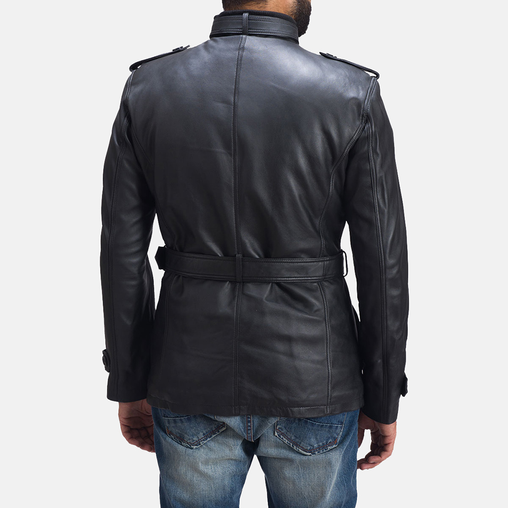 Mens Hunter Black Leather Jacket 4