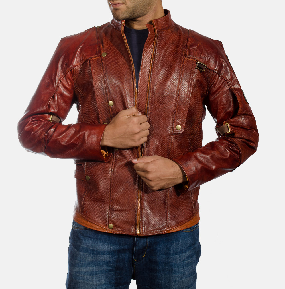 Mens Mars Maroon Leather Jacket 1
