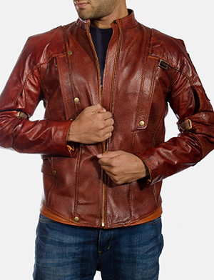 Mens Mars Maroon Leather Jacket