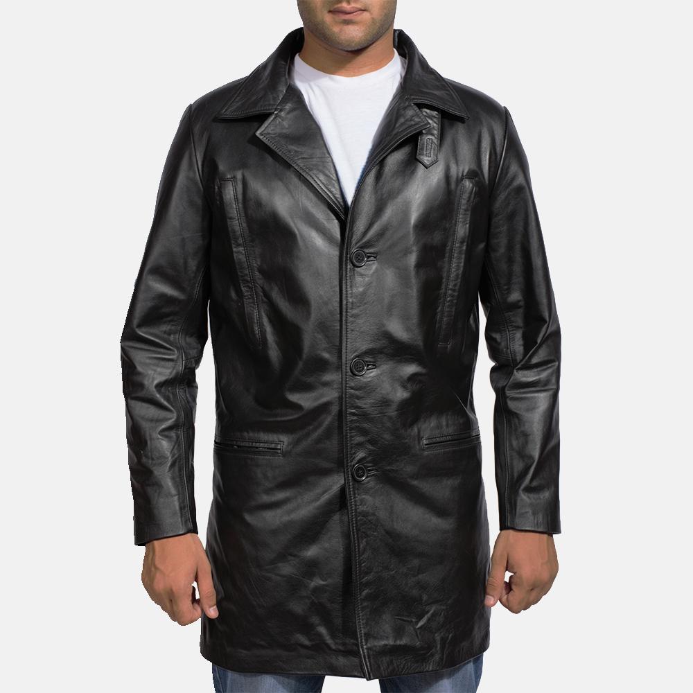 Mens Alan Black Leather Coat 1