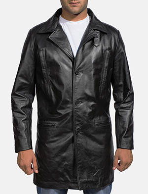 Mens Alan Black Leather Coat
