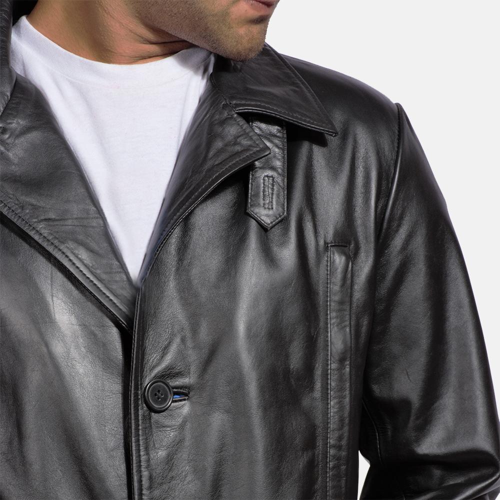 Mens Alan Black Leather Coat 3
