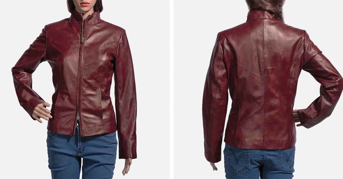 Rumella Maroon Leather Biker Jacket