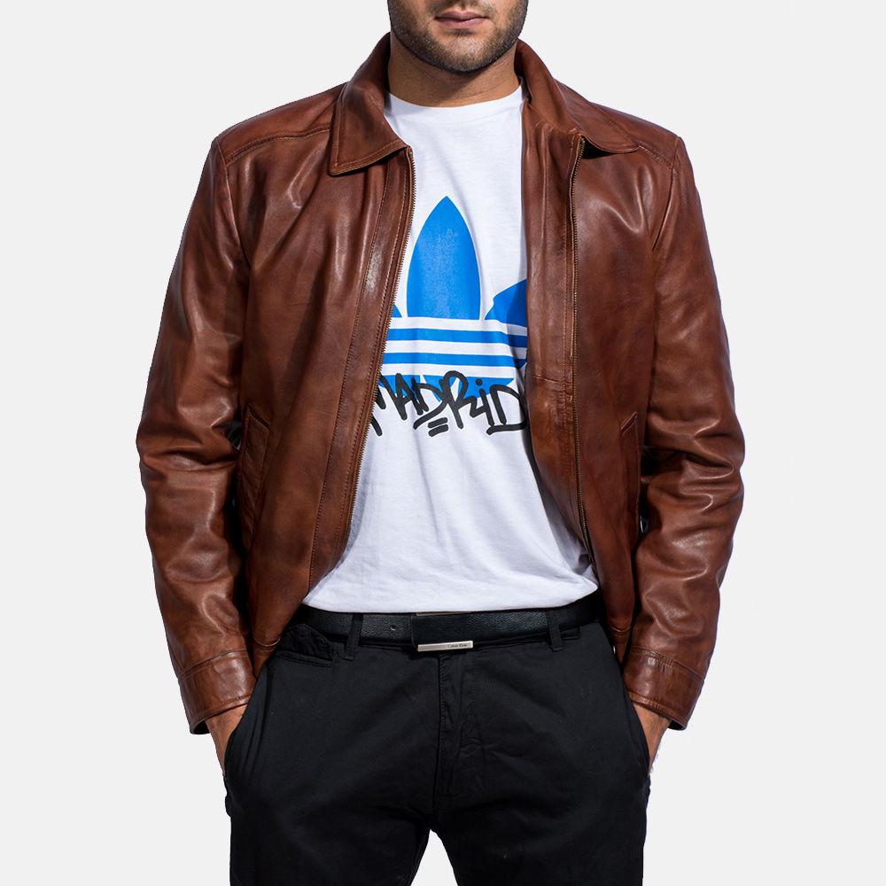 Mens Inferno Brown Leather Jacket 6