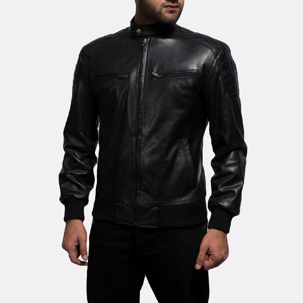 Mens Sven Black Leather Bomber Jacket 2