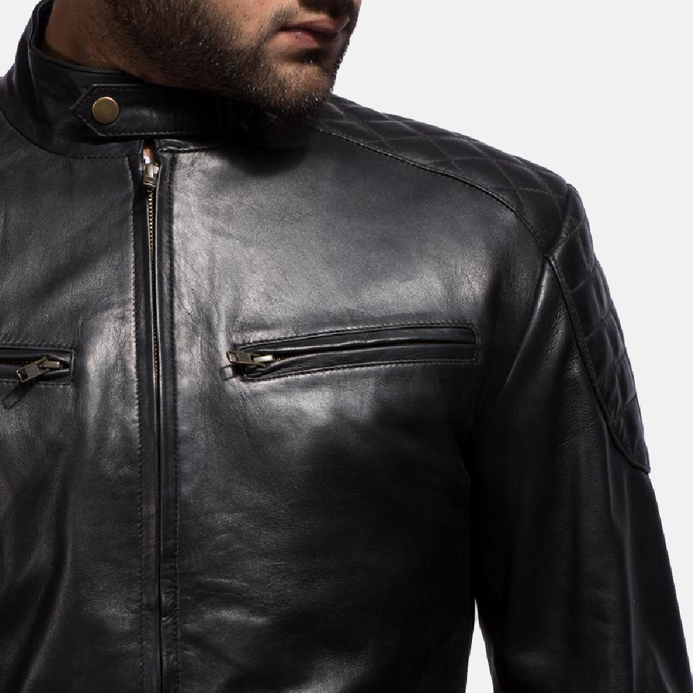Mens Sven Black Leather Bomber Jacket 3
