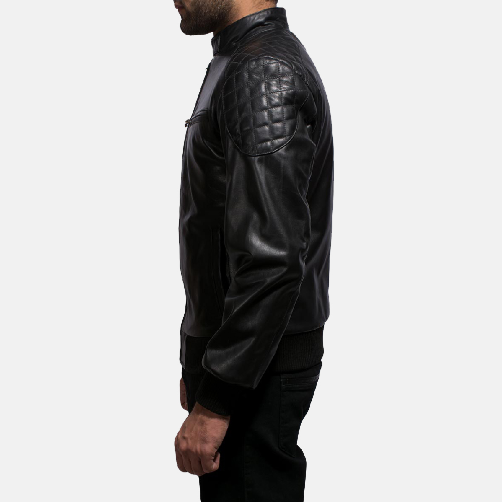 Mens Sven Black Leather Bomber Jacket 4