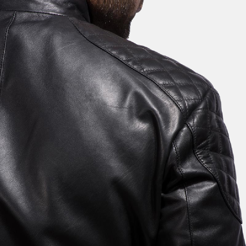 Mens Sven Black Leather Bomber Jacket 5
