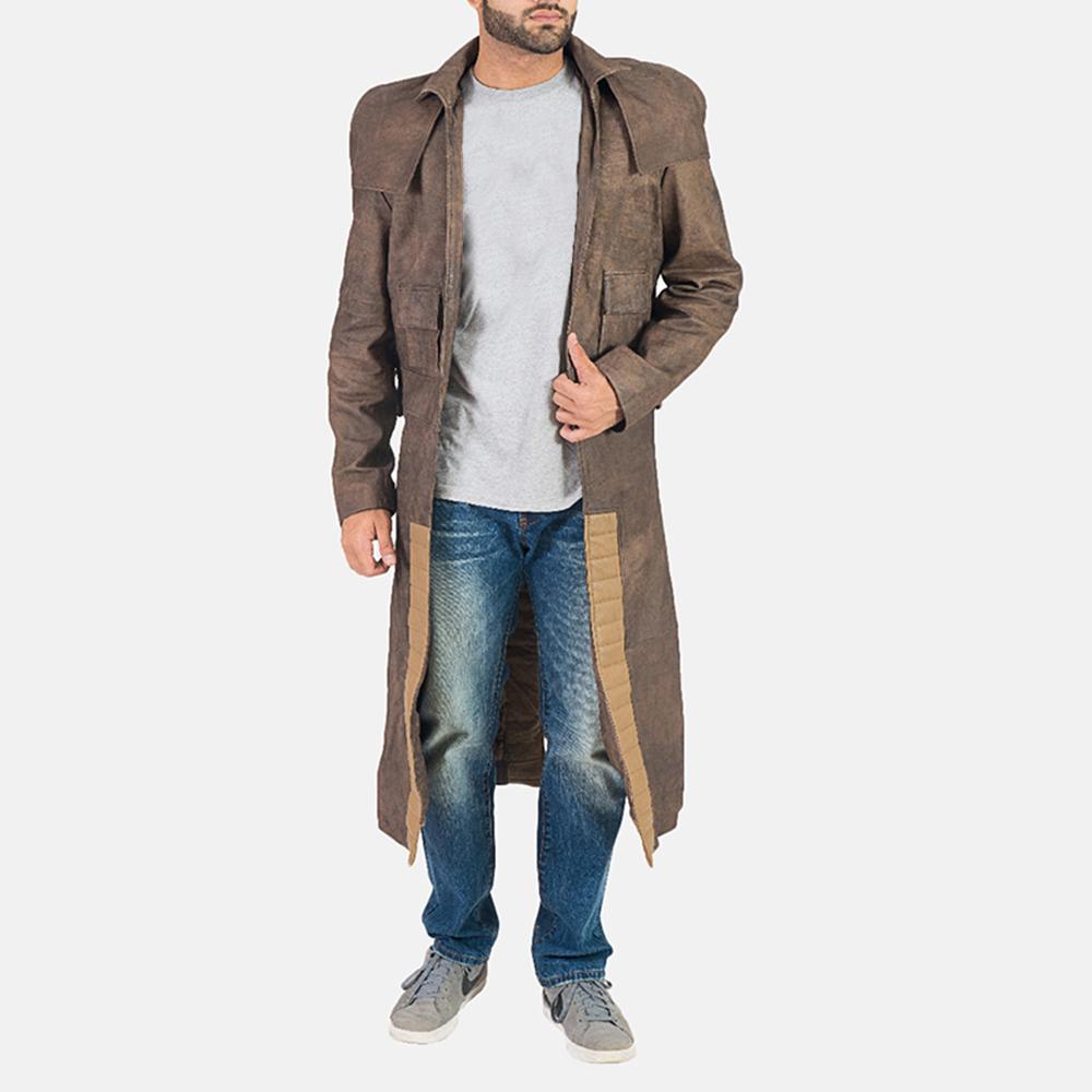 Mens Original Brown Leather Duster 1