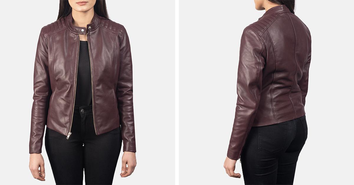 Kelsee Maroon Leather Biker Jacket