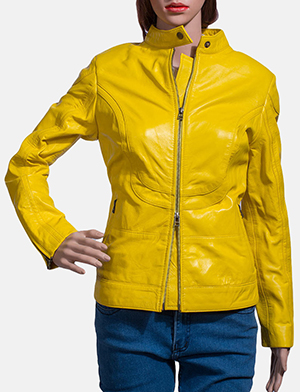 Womens Mystic Yellow Leather Biker Jacket