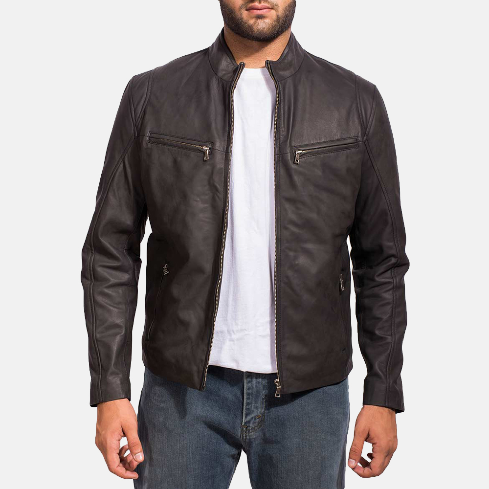 Blazers Jackets Mens: Mens Ionic Black Leather Jacket