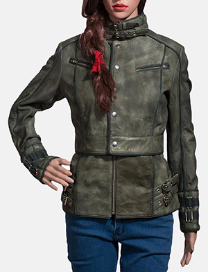 Womens Enchantment Green Leather Jacket 1