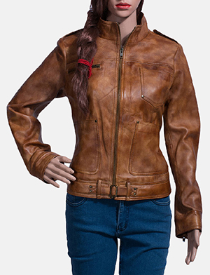 Womens Ethereal Brown Leather Biker Jacket