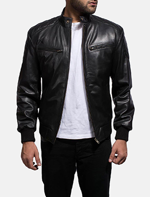 Sven Black Leather Bomber Jacket