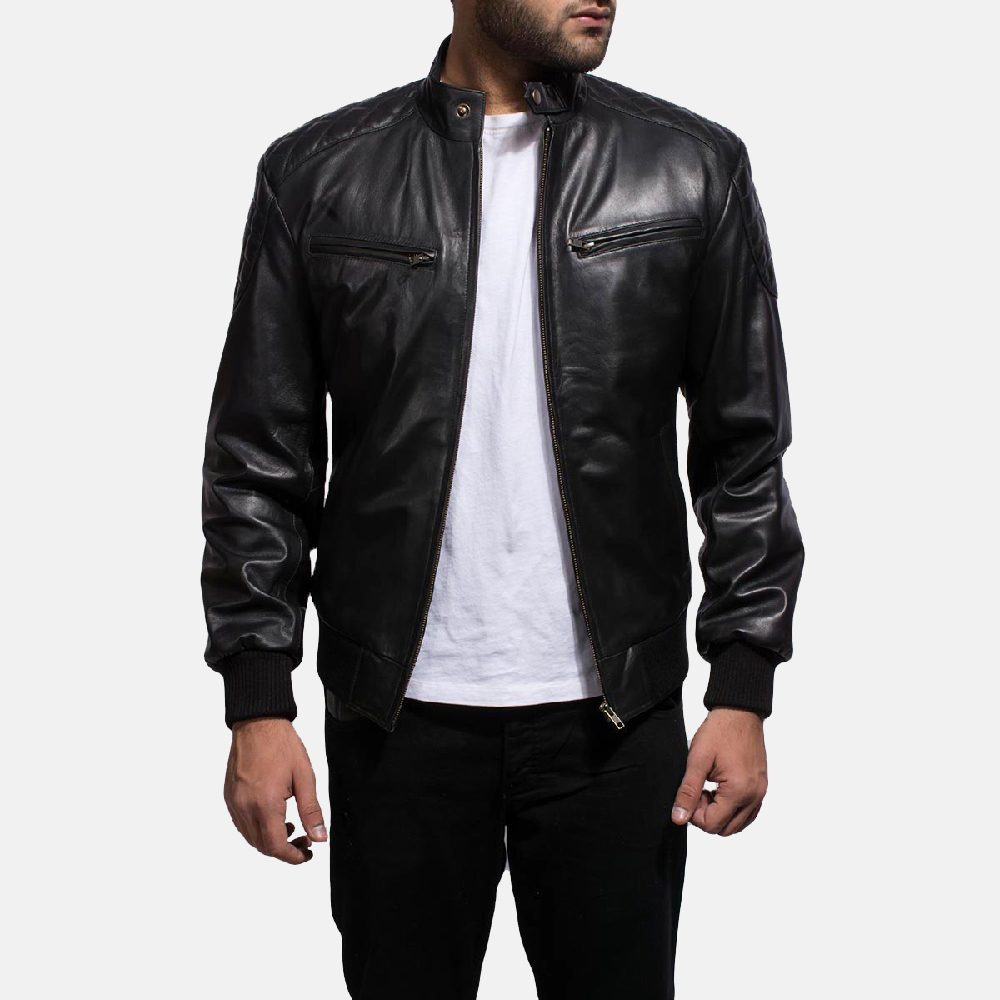 Mens Sven Black Leather Bomber Jacket 1